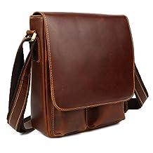 Tiding Men's Classic Genuine Leather Leisure Casual Satchel Messenger Shoulder Bag (Brown 1)