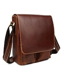 Tiding Men's Classic Genuine Leather Leisure Casual Satchel Messenger Flap-over Crossbody Shoulder Bag (Brown)