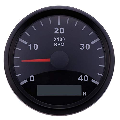 ELING Waterproof Tachometer REV Counter RPM Gauge with Hour Meter 0-4000RPM 85mm 9-32V with -