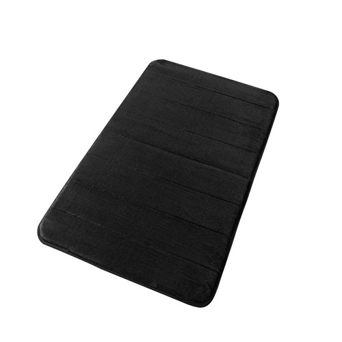 FINDNEW Soft Stripe Style Microfiber Memory Foam Bath Mat with Anti-Skid Bottom,Absorbent&Comfortable,Non-Slip Rug,Quickly Drying (Black, 17 X 24)