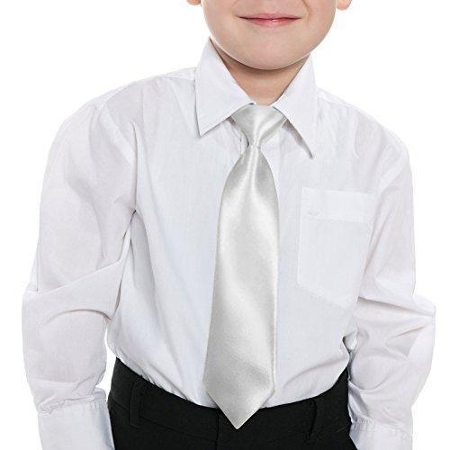 Straps Elastic Woven Satin - GASSANI Pure White Pretied Kids Necktie with strap Shiny Satin Boys Tie