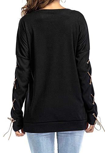 Top Fashion Taschino Grau Size Donna A color Camicie Maniche Estate Schwarz T Da Nuovo Con Andre L Girocollo shirt Lunghe Tops UxPTTOv