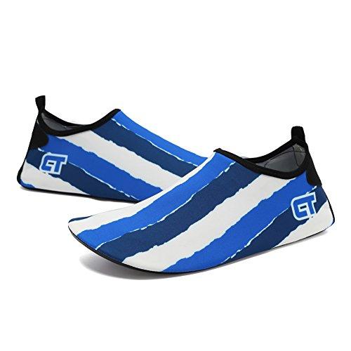 CIOR Männer und Frauen Barfuß Haut Aqua Schuhe Rutschfeste Multifunktionale Wasserschuhe Für Strand Pool Surf Yoga Übung T.blau 01