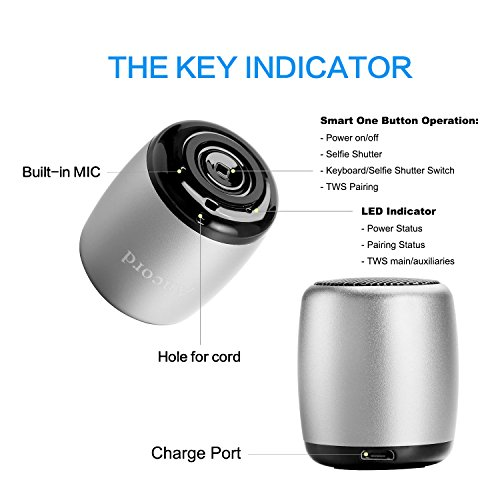 Ancord Micro Silver Bluetooth Speaker TWS System Portable Tiny Body Loud Voice