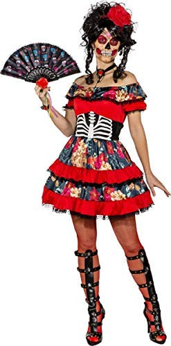 Ladies Sexy Floral Day Of The Dead Skeleton Bones Sugar Skull Halloween Horror Fancy Dress Costume Outfit (UK 10-12 (EU 38/40))]()