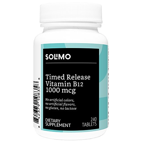 - Amazon Brand - Solimo Timed Release Vitamin B12 1000 mcg, 240 Tablets, Eight Month Supply