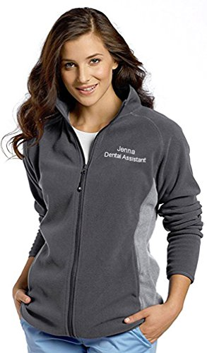 White Cross Custom Embroidered Polar Fleece Zip Front Sport Jacket Scrubs -