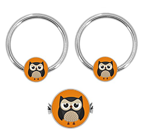 Captive Logo Nipple (Pair of Cute Owl pic logo Captive bead Ring lip, belly, nipple, cartilage, tragus, septum, hoop 14g)