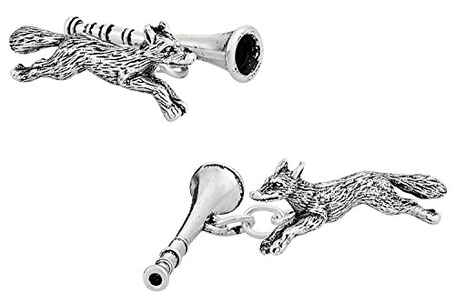 Cuff-Daddy 925 Sterling Silver Fox Hunting & Horn Cufflinks with Presentation Box
