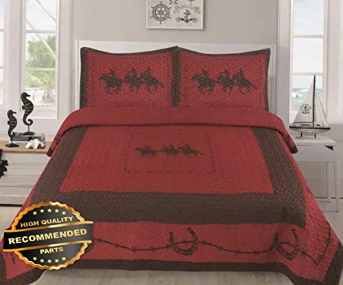 Werrox 3 Piece Texas Rustic Rodeo Running Horse Star Western Quilt Bedspread Comforter! | King/Cal-K Size | Quilt Style QLTR-291265422 ()