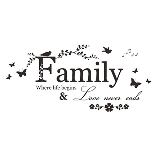 Bigban 1 PC Warm Family Flower Butterfly Art Vinyl Quote Wall Stickers Wall Decals Home Deco