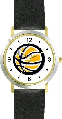Basketball - Basketball Theme - WATCHBUDDY DELUXE TWO-TONE THEME WATCH - Arabic Numbers - Black Leather Strap-Women's Size-Small by WatchBuddy