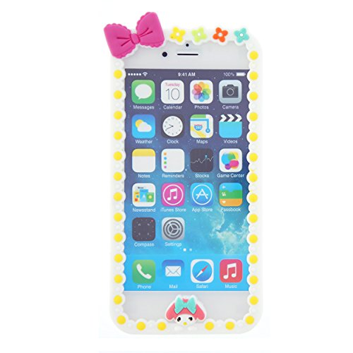 CaseBee ® - Stylish Bowtie iPhone 6 (4.7) Case - (Package includes Extra Crystals & Screen Protector) (White with Yellow Dot)