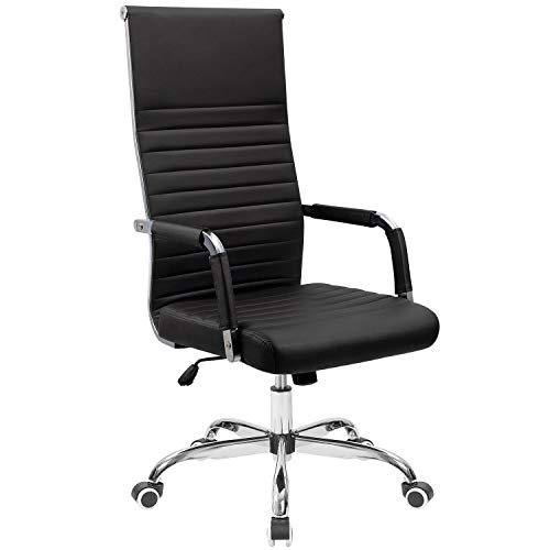 Tuoze Office Chair High-Back Leather Desk Chair Modern Executive Ribbed Chairs Height Adjustable Conference Task Chair with Arms (Black)