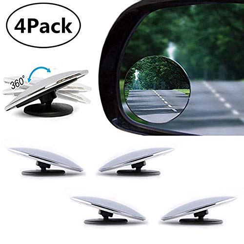 PERTTY 4 Pieces Mini Blind Spot Mirror Cover 360 Rotating Safety Wide Angle Ampper Blind Spot Mirror 2″ Round Hd Glass Frameless Convex Auto Exterior Accessories