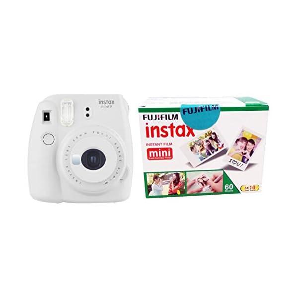 RetinaPix Fujifilm Instax Mini 9 Instant Camera (Smokey White) and Fujifilm Instax Mini Picture Format Film - Value Pack 60 Shots Films (White)