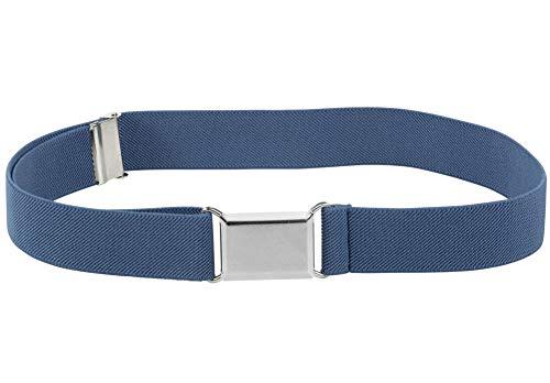 - Kids Elastic Adjustable Strech Belt With Silver Square Buckle - Denim Blue