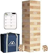 Megwoz Giant Tumble Tower, Stacking Backyard Game Stacking from 2Ft to Over 4.2Ft with 2 Dices|Scoreboard| Car
