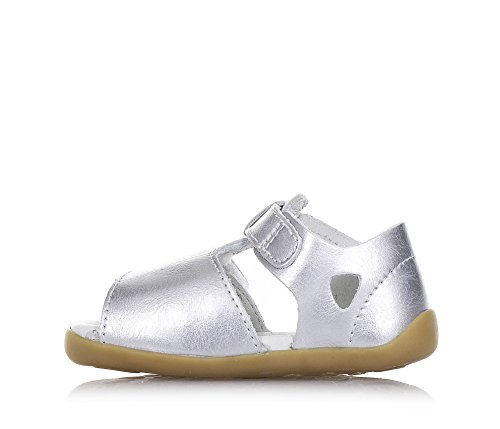 BOBUX - Sandale Step Up Mirror argent en cuir, made in New Zealand, idéale pour les premiers pas et pour ramper,bébé fille