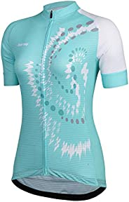Beory Womens Cycling Jerseys Short Sleeves,Outdoor Sport Bicycle Shirts with Three Pockets