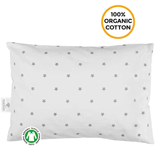 Toddler Pillowcase - 100% GOTS Certified Organic Cotton - Hypoallergenic Safe and Comfortable - No Harsh Chemicals on Your Toddler's Skin - White and Grey - Star All Pillowcase