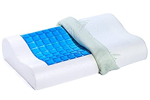 Dormire Contour Cooling Gel Memory Foam Pillow with Removable Bamboo Soft Pillow Case - 21.5