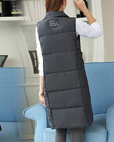maniche lungo Gilet grigio Altro Outwear senza Parka donna maniche da P8Hdw8