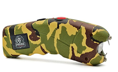 Pride Defense Cyclone Tactical Stun Gun - Police Grade Strength By Rechargeable Stun Gun - W/Alarm - Leather Holster For Easy Cary (Camo) -