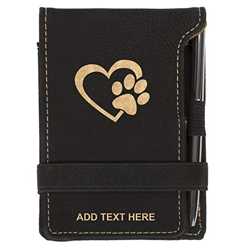 (Personalized Mini Notepad Holder Set - Pocket Memo Pad Jotter Notebook Case - Includes Mini Note Pad & Pen to Jot Notes and Writing To Do List - Heart With Dog Paw, Black & Gold)