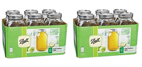 Ball 64 Oz Wide Mouth 1/2 Gallon Glass Jars 6 Pieces Includes Lids with Bands 64 Oz (Pack of 2)