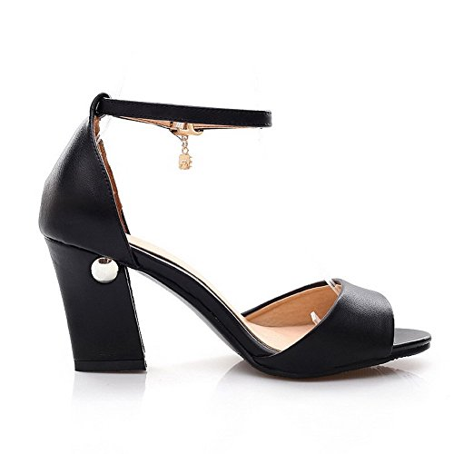 AmoonyFashion Sandals High Open Solid Cow Buckle Toe Black Womens Heels Leather rzqBr0