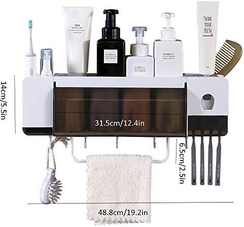 壁に取り付けられた歯ブラシホルダー、多機能歯ブラシオーガナイザー、歯磨き粉ディスペンサースクイーザー、浴室の省スペース用。