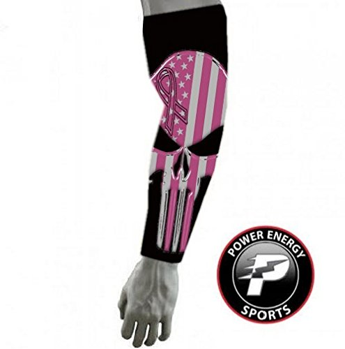 Power Energy Sports Pink Ribbon Flag Breast Cancer Compression Football Baseball Arm Sleeve - Punisher Skull