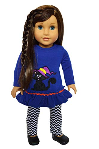 Brittany's Spooky Kitten Outfit Compatible with American Girl Dolls-18 Inch Doll Clothes Halloween -