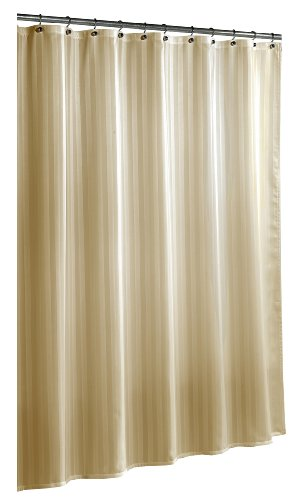 (Ex-Cell Home Fashions by Appointment Woven Stripe Damask Fabric Shower Curtain Liner, Linen)