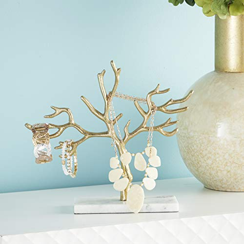 CosmoLiving by Cosmopolitan 54287 Tall, Metallic Gold Metal Jewelry Tree on White Marble Base | 12