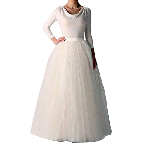 Wedding Planning Women's Long Tutu Tulle Skirt A Line Floor Length Skirts Medium Ivory