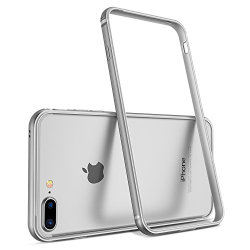 Humixx Aluminum TPU Hybrid Shockproof Bumper Case Compatible with iPhone 8 Plus/iPhone 7 Plus [Extre Series] - Silver