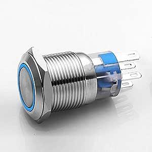 DIGITEN 19mm Waterproof Stainless Steel Blue Angel Eye 12V LED Button Switch ON/Off car