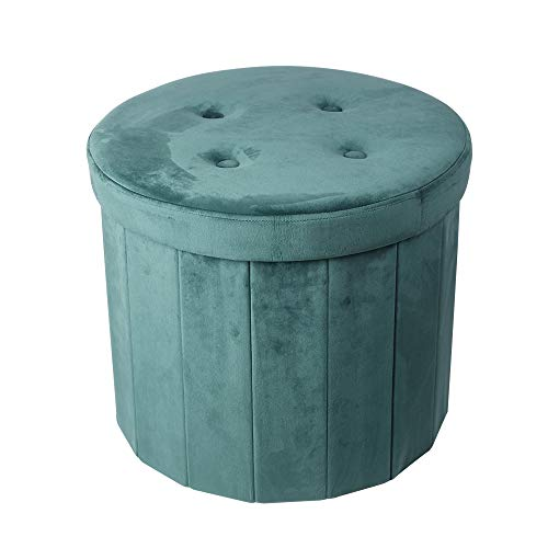 GIA OT06-GREEN-R Tufted Ottoman End Table with Storage, Round, Green