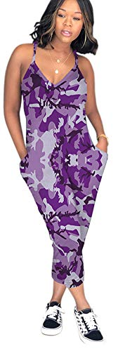 Vamvie Women Spgahetti Strap Floral Camouflage Print Casual Harem Jumpsuits with Pockets Purple Camo - Pants Purple Camouflage