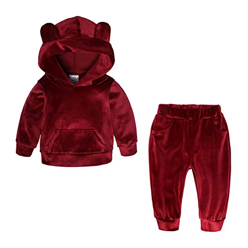 (Kids Baby Boys Girls Solid 2 Piece Sweatsuit Tracksuits Velvet Clothes Set Outfit Pullover Hoodie Sweatpant)