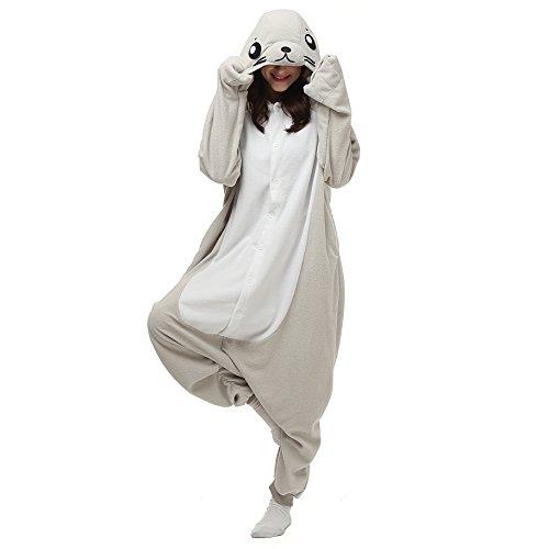 Sea Monster Costume Patterns (Unisex Adult Onesie Pajamas Kigurumi Sea Lion Sleepwear Size the US Medium Gray)