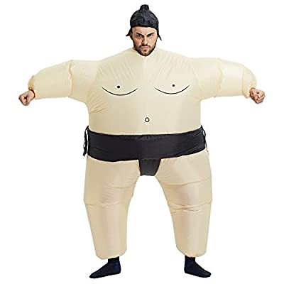 TOLOCO Inflatable Sumo Wrestler Wrestling Suits Halloween Costume, One Size Fits Most
