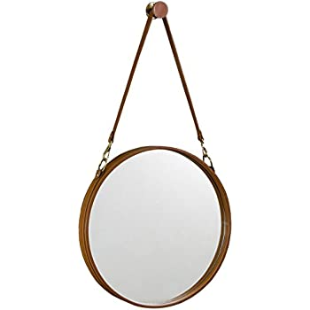Amazon Com Expedition Iron Round Mirror With Leather