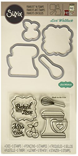 Green Cook Whisk (Sizzix Framelits Die Set with Stamps Baked with Love by Lori Whitlock (4 Pack))