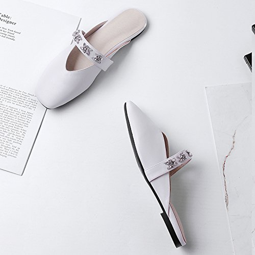 wetkiss 2018 Summer Women Slippers Square Toe Slides Pu Flat Sole Footwear New Fashion Casual Ladies Mules Shoes Big Size 43 White 4kSZfFqD