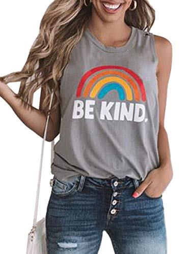 (Womens Plus Size Good Vibes Tank Tops Graphic Tees Rainbow Sleeveless Casual Summer Shirts Workout (X-Large, Y-Grey))