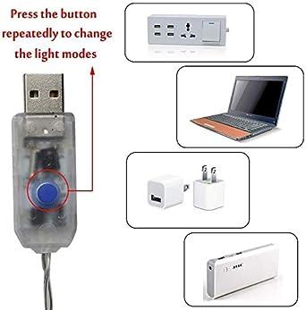 Luci stringa per tende 210 LED Luci arcobaleno per finestre arcobaleno USB o batteria 8 modalit/à Luci fata 10 ganci Luci esterne per interni impermeabili per la festa di nozze Camera da letto