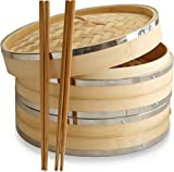 10 Inch Premium Organic Bamboo Steamer Basket by Harcas. Large 2-Tier with Lid. Strong and Durable with Reinforced Stainless-Steel Bands. Best for Dim Sum, Vegetables, Meat and Fish. Hand Made